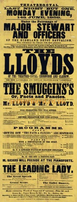 A Poster for Horatio Lloyd and his son, Arthur, performing in Horatio's 'Facts and Fancies' at the Theatre Royal, Aberdeen on the 14th of June 1858 - Click to Enlarge.