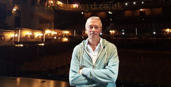 Matthew Lloyd, the creator of this Website, on the stage of the Theatre Royal, Drury Lane in 2016.