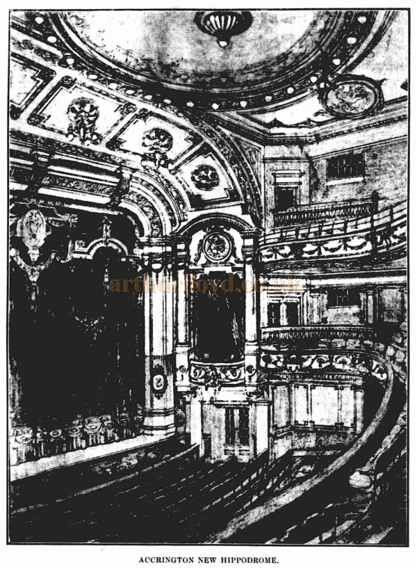 A lithograph showing the Auditorium of Bertie Crewe's New Hippodrome Theatre, Accrington - From the ERA, 2nd January 1909.