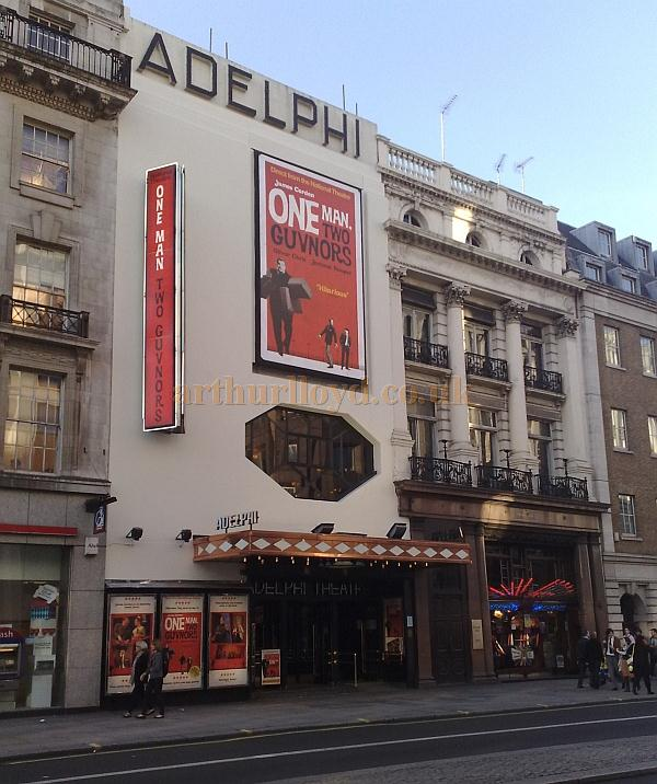 The Adelphi Theatre advertising the National Theatre's production of 'One Man Two Guvnors' which opened at the Theatre in November 2011 - Photo M.L.