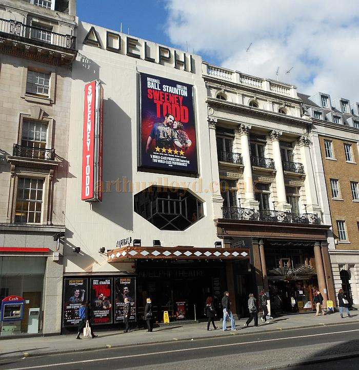 The Adelphi Theatre in March 2012 advertising the Chichester Festival production of 'Sweeney Todd' Starring Michael Ball and Imelda Staunton - Photo M.L.