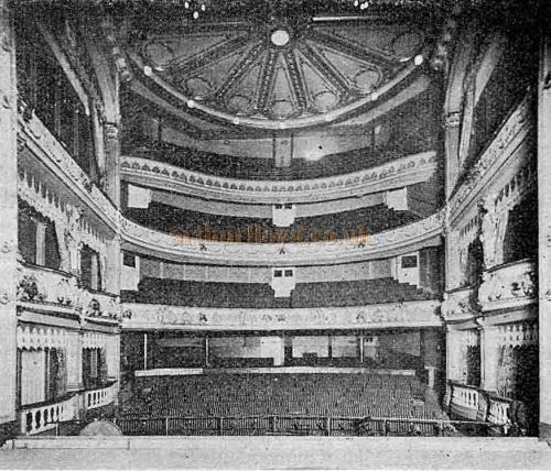 The Century Theatre Auditorium from the stage - From 'The Playgoer' 1901 - Courtesy Iain Wotherspoon.