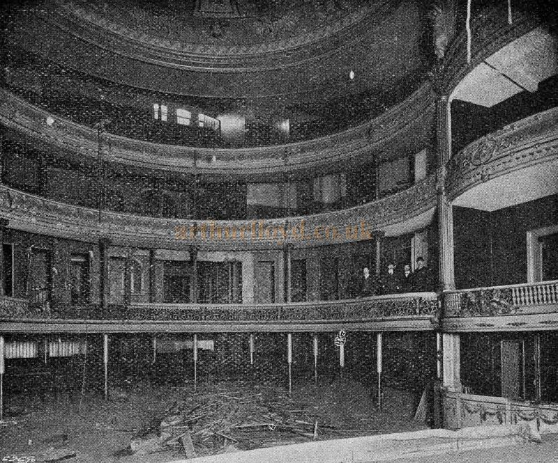 Last days of the Second Adelphi Theatre - The Auditorium just prior to demolition in November 1900 - From 'The Playgoer' 1901 - Courtesy Iain Wotherspoon.