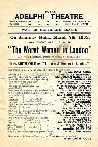 Programme for the Third Adelphi Theatre, 'The Worst Woman in London,' in the early 1900s.