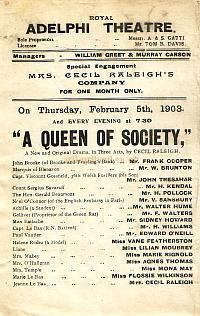 Programme for A Queen of Society' at the third Adelphi Theatre in the early 1900s.