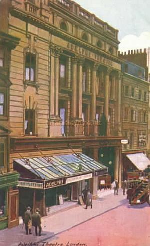 A colour postcard depicting the second Adelphi Theatre.
