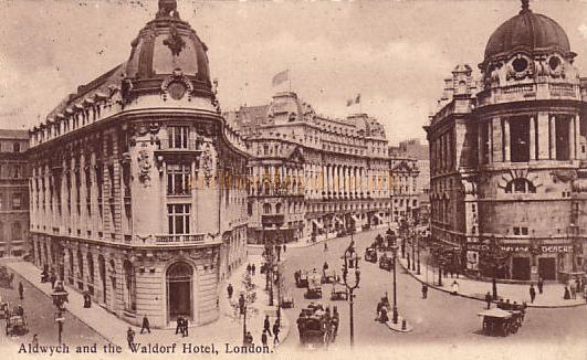 The newly built Aldwych in the early 1900s showing the Gaiety Theatre on the right, and on the far left, the Waldorf Theatre, now Novello, the Waldorf Hotel and the Aldwych Theatre.