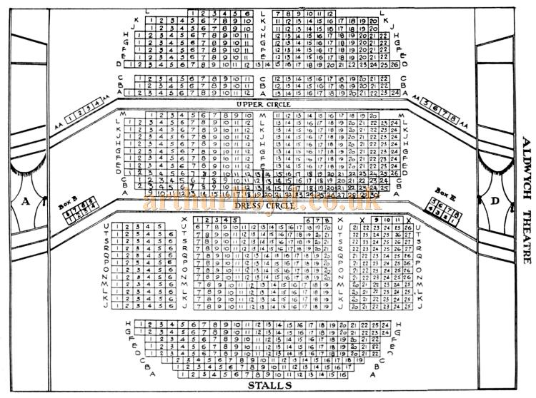 A Seating Plan for the Aldwych Theatre, probably 1970s