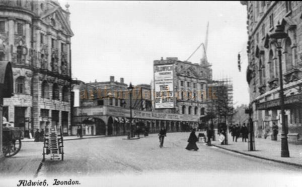 A postcard showing the Aldwych Theatre under construction in 1905.