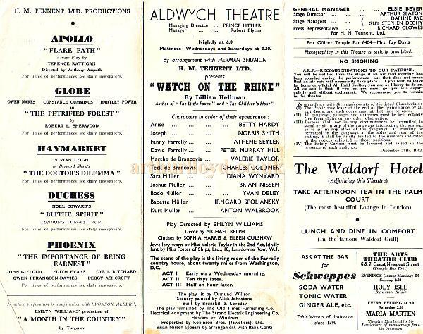"Programme for ""Watch On The Rhine"" which opened at the Aldwych Theatre in April 1942 and ran for a year."