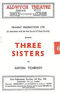 A Programme for 'Three Sisters' at the Aldwych Theatre which opened on Thursday 3rd May 1951.