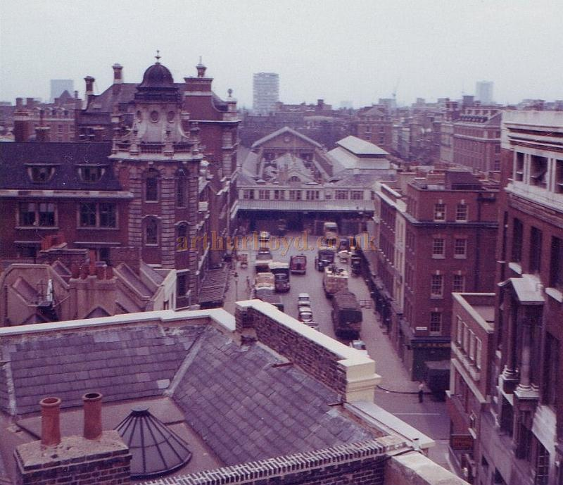 The view of Covent Garden from the roof of the Theatre Royal, Drury Lane in the 1970s - From the personal collection of Alec Marlow, former Master Carpenter at the Theatre Royal, Drury Lane - Courtesy Phil Davis.