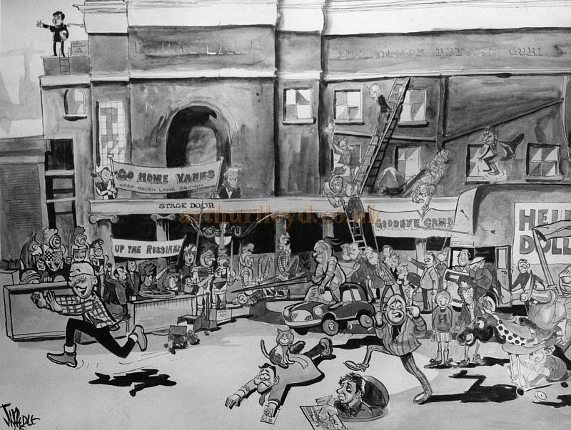 A Cartoon drawn by Jimmy Needle during the run of 'Hello Dolly' at the Theatre Royal, Drury Lane. The cartoon seems to be suggesting that the Theatre staff were at the time fed up with American productions taking over the Theatre - From the personal collection of Alec Marlow - Courtesy Phil Davis.