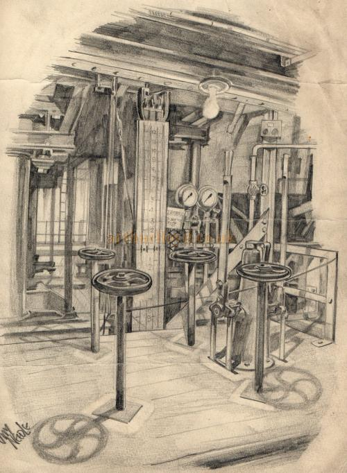 A Sketch of the substage machinery at the Theatre Royal, Drury Lane, drawn by Jimmy Needle - From the personal collection of Alec Marlow - Courtesy Phil Davis.