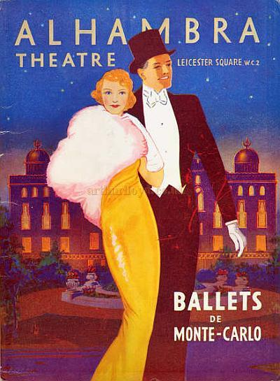 "Programme for 'Ballets De Monte-Carlo' including 'Le Lac des Cynges', 'Carnaval', 'Aubade' and 'Prince Igor""' at the Alhambra Theatre for the week of June the 8th to the 13th, 1936. - Courtesy Dominic Holzapfel."