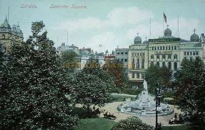 Postcard showing the Alhambra Theatre Leicester Square, and also top left - The London Hippodrome.
