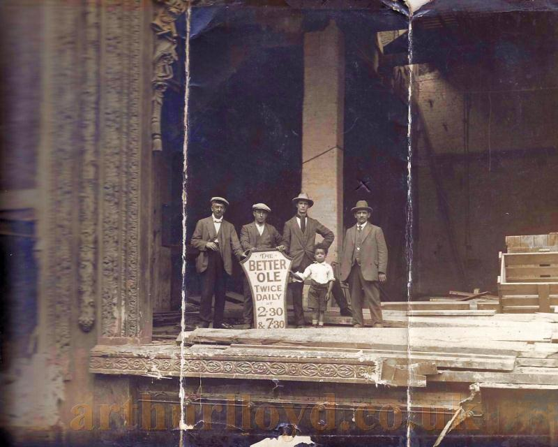 Members of the demolition crew standing on what was left of the stage of the Alhambra Theatre during the Theatre's dismantling in 1936 - Courtesy Andrea Taylor