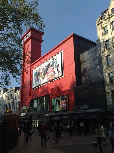 The Odeon Leicester Square, decked out in a temporary red facade in April 2009. Photo M.L.