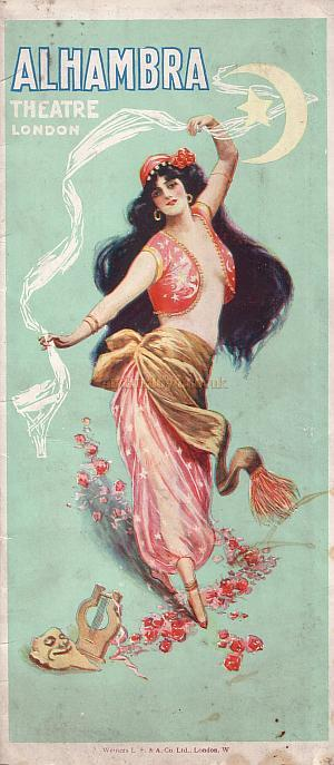 Front cover from a Programme for 'Paquita' at the Alhambra Theatre October 12th 1908 - Courtesy John Moffatt