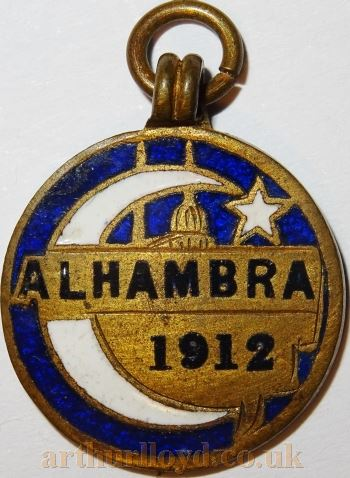 A 1912 Entrance Token for the Alhambra Theatre which may have been an annual pass considering the lowness of the number - Courtesy Alan Judd.