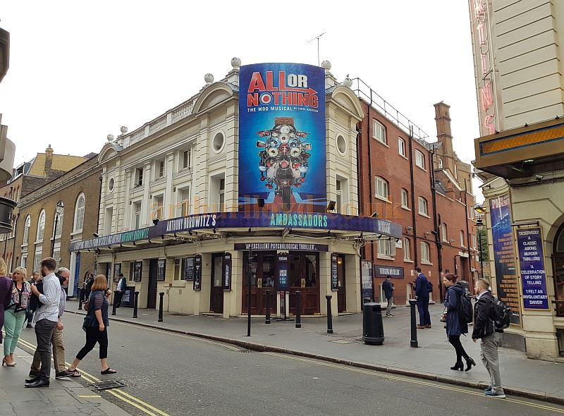 The Ambassadors Theatre during the run of 'Mind Games' in May 2018 whilst still showing signage for the former production at the Theatre of 'All or Nothing'.