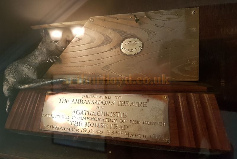 A Plaque situated in the Ambassadors Theatre Foyer which was presented by Agatha Christie to commemorate the run of 'The Moustrap' at the Theatre from the 25th of November 1952 to the 23rd of March 1974 when it transferred next door to the St. Martin's Theatre - Photo M.L. May 2018.