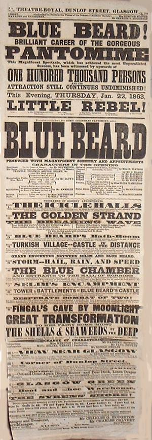 Bill for Blue Beard at the Theatre Royal, Dunlop Street, Glasgow - Thursday Jan 22nd 1863 - With Horatio Lloyd on the Bill - Courtesy Adam McNaughtan. - Click for Horatio Lloyd's Biography.