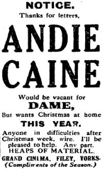 An advertisement in The Stage of December the 6th, 1928