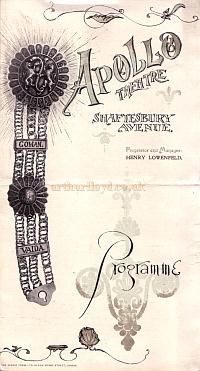 A Programme for 'The Belle Of Bohemia' The opening production at the Apollo Theatre on the 21st of February 1901 - Click for cast details.