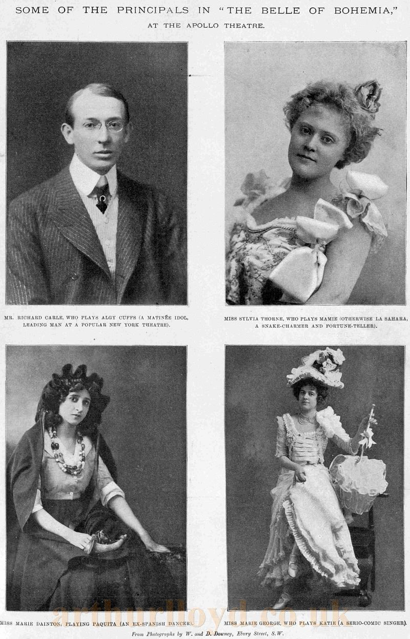 Some of the Principle Cast Members of the 'Belle of Bohemia', the opening production at the Apollo Theatre in 1901 - From The Sketch, February 27th 1901.