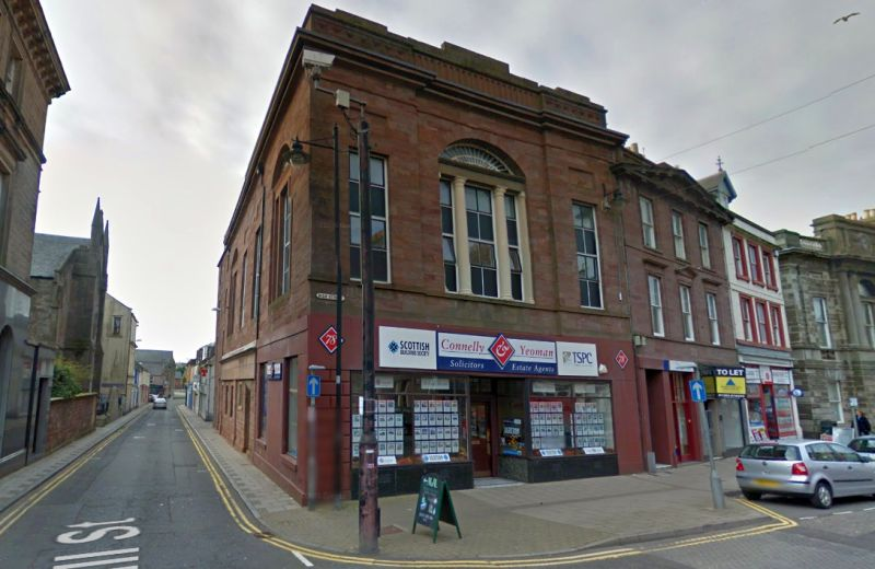 A Google StreetView Image of the Site of the former Theatre Royal Trades Hall, Arbroath - Click to Interact.