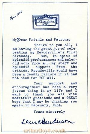 An open letter from Laura Henderson, printed in the Windmill Theatre  No.20 Programme, celebrating the first year of Revudeville at the Theatre - Courtesy Maurice Poole.