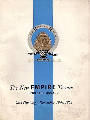 The Gala Opening Programme for the New Empire Theatre in 1962 - Click to see a Special Feature on this programme.