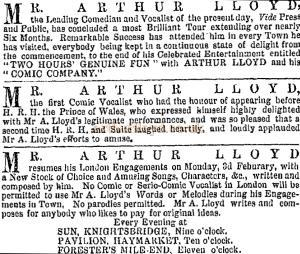Arthur Lloyd Notices from the ERA, 9th Jan 1873.