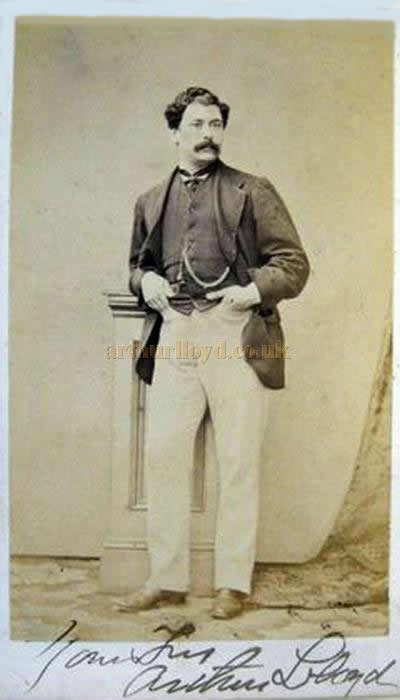A very rare and early 1860s signed Carte de visite (CDV) card of Arthur Lloyd - Courtesy Joe Guttridge.