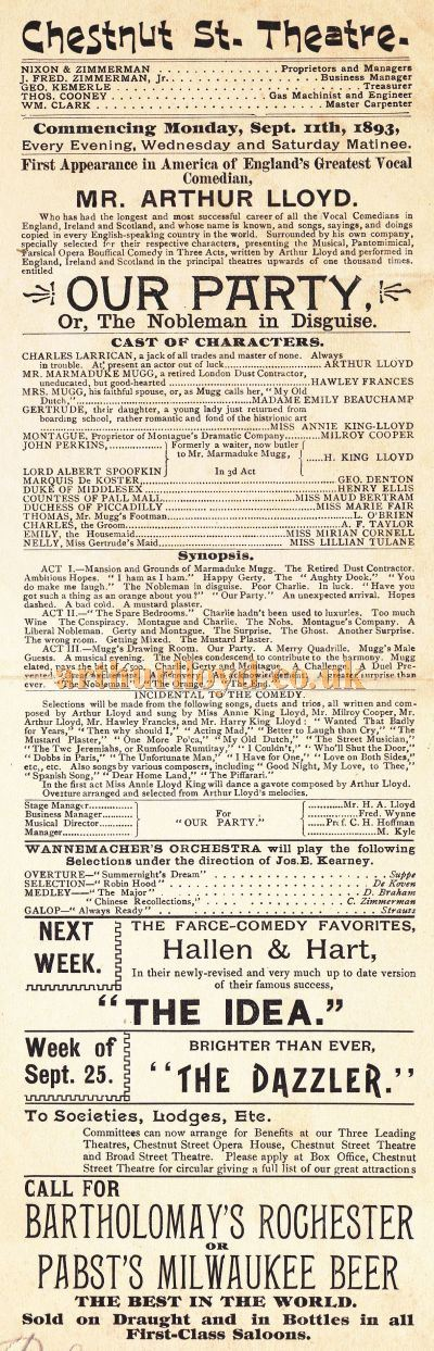 A Bill for Arthur Lloyd and Company in 'Our Party' at the Chestnut Street Theatre, Philadelphia, in September 1893 - Click to Enlarge.