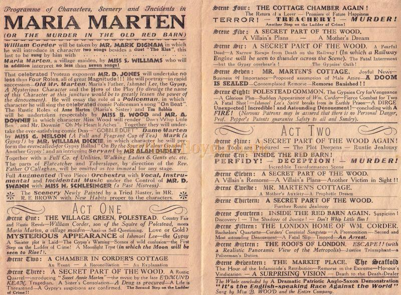 Programme for 'Maria Marten' or 'The Murder in the Old Red Barn' at the Arts Theatre, Christmas 1952