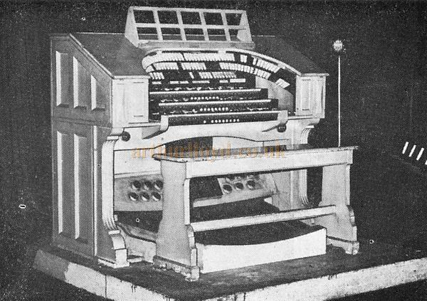 The stage console of the Compton dual-console organ of the Astoria Cinema, Old Kent Road. A John D. Sharp Photograph - From the 21st Anniversary edition of 'Cinema Organ' December 1973.