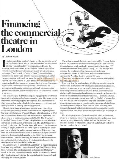 Financing the commercial theatre in London - By Laurie P Marsh