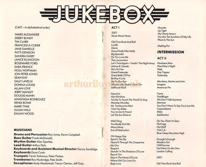 The cast list and running order of 'Jukebox' at the Astoria Theatre, Charing Cross Road - From a programme for 'Jukebox' in 1983 - Courtesy Julian Wild.