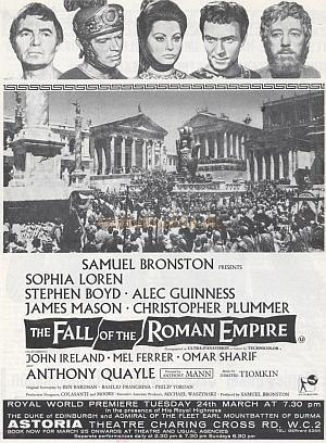 A newspaper advertisement for 'The Fall of the Roman Empire' which premiered at the Astoria, Charing Cross Road on the 24th of March 1964 - Courtesy Richard Carr.