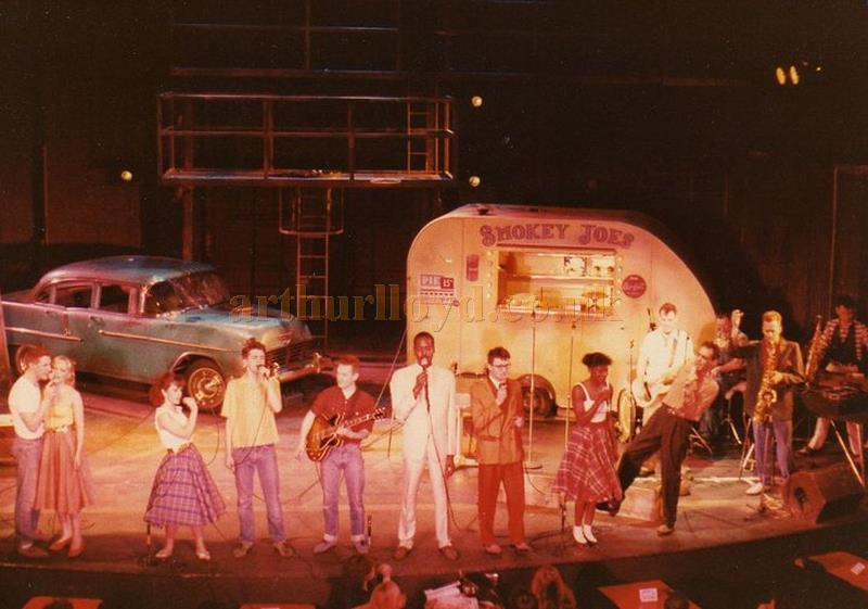 The cast of 'Yakety Yak' on stage at the Astoria Theatre in 1983 - Courtesy of Drac