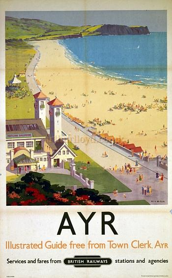 An Ayr railway poster showing the Pavilion and beach in 1955 - Courtesy Graeme Smith.