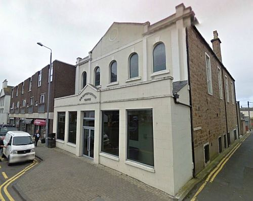 A Google StreetView image of the Ayr Baptist Church, formerly the Theatre Royal - Click to Interact.