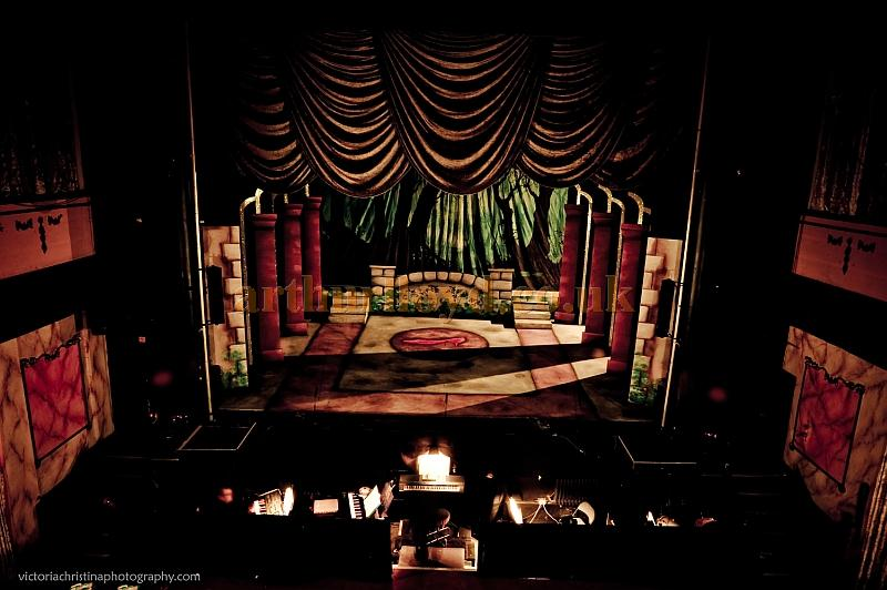 The stage of the Royal Court Theatre, Bacup set up for a pantomime - Photograph Victoria Christina - Courtesy Simon Parker, Bacup Amateur Operatic and Dramatic Society.