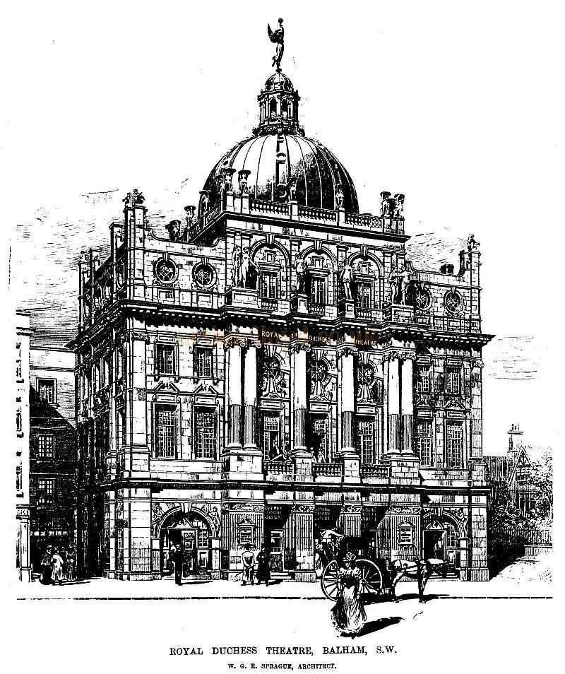A sketch of the Royal Duchess Theatre, Balham - From the ERA, 29th of July 1899 - To see more of these Sketches click here.