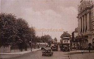 A postcard view of the High Road, Balham, with the Duchess Theatre to the right of the image.