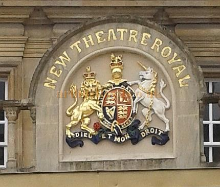 A detail from the main facade of the Theatre Royal Bath in March 2013 - Courtesy Piers Caunter.
