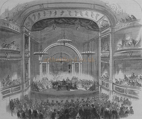 The auditorium of C. J. Phipps' 1863 Theatre Royal, Bath, during a meeting of the British Association in 1864 - From the Illustrated London News September 1864.