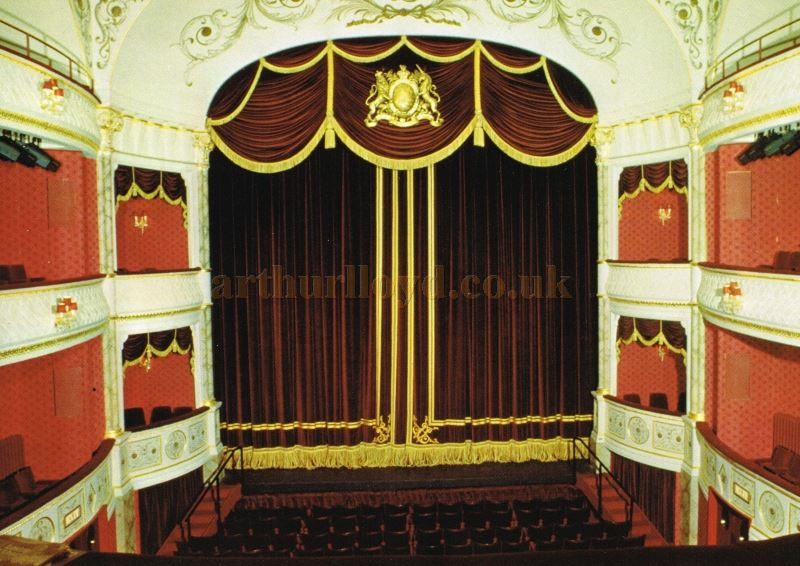A Postcard view of the Auditorium and Stage of the Theatre Royal, Bath - Courtesy Roger Fox.